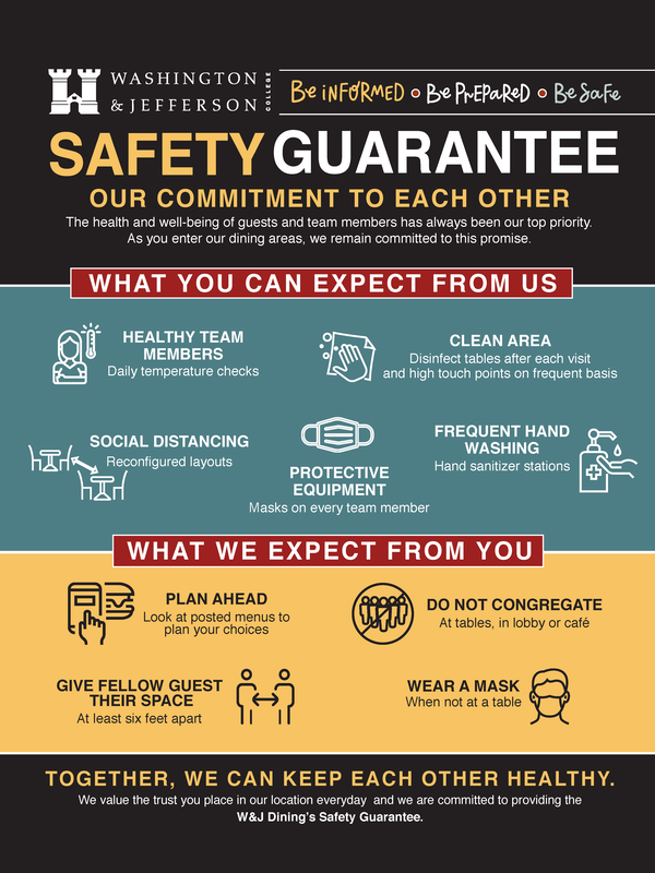 The Metz Safety Guarantee Our Commitment to Each Other  What our Guests can Expect from Us: •	Daily temperature checks •	Clean dining areas--disinfecting tables after each visit and high touch points on a frequent basis •	Reconfigured layouts to encourage social distancing •	Masks on every team member •	Frequent hand washing and use of hand sanitizing stations  What We Expect From our Guests •	Plan your meal ahead of time by looking at posted menus •	Please don't congregate at tables, in the lobby, or the café •	Give fellow guests' their space, at least six feet apart •	Wear a mask when not eating  Be informed  Be prepared  Be Safe